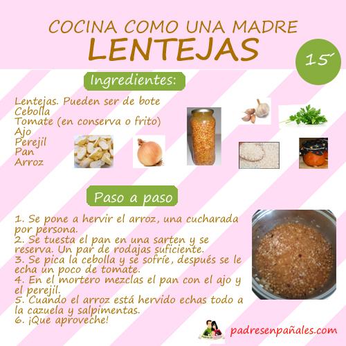 Cocina como una madre receta f cil de lentejas disfruti for Como se cocina el arroz