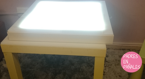 Mesa de luz con mesa lack de ikea disfruti for Mesa de dibujo con luz